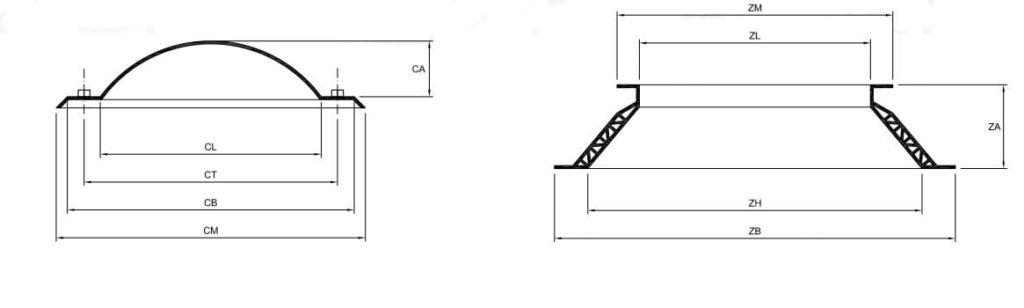 Medidas Claraboyas rectangulares y cuadradas